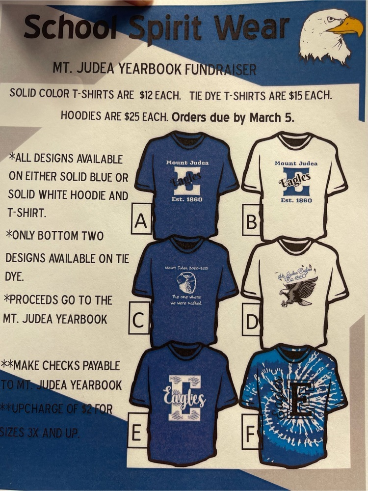 Mt. Judea Yearbook group is selling T-shirts and hoodies! Orders are due Friday!