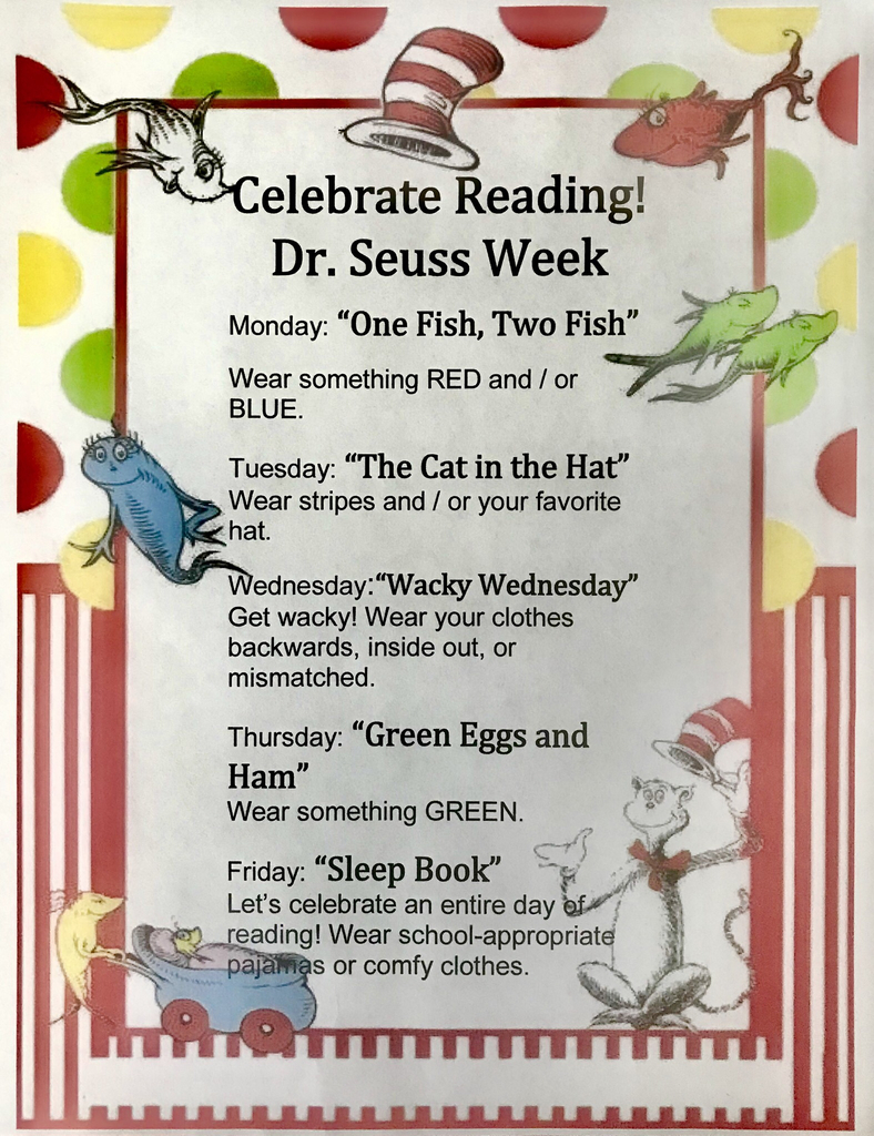 Celebrate reading week March 2nd - 6th!!
